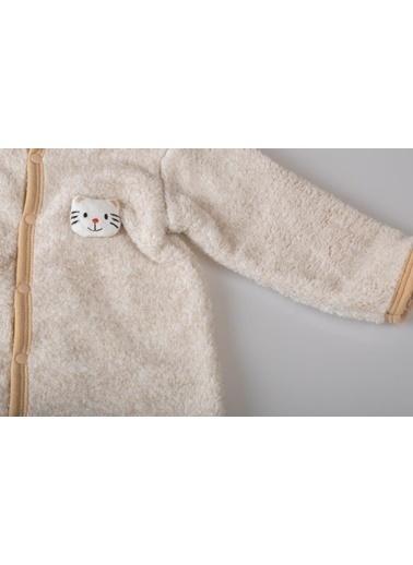 POKY Yeni Sezon Kız Erkek Bebek 3-12 Ay Kapüşonlu Kırçıllı Kedili Tulum-6690 Kahve